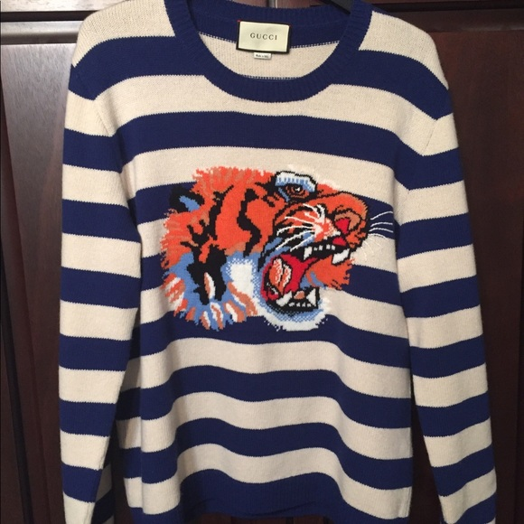 2cb0dc3b5 Gucci Sweaters | Striped Wool Sweater With Tiger Head | Poshmark